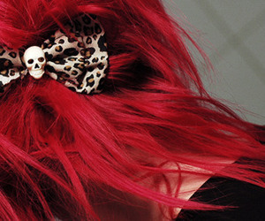 hair, red, and skull image