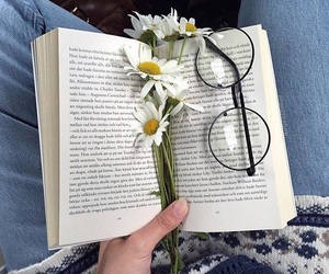 book, flowers, and glasses image