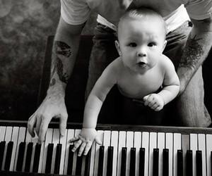 baby, piano, and tattoo image