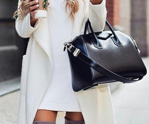 starbucks, long wavy ombre hair, and black celine purse image