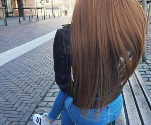 black leather jacket, light brown hair, and adidas sneakers image