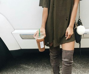 black purse, iced coffee, and starbucks image