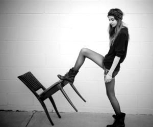 girl, chair, and boots image