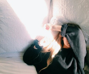 bed, blonde, and sunlight image