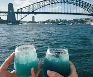 blue, bridge, and sea image