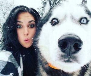 dog, girl, and snow image