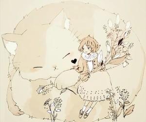 anime girl, cat, and kawaii image