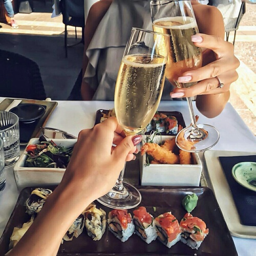 food, drink, and sushi image