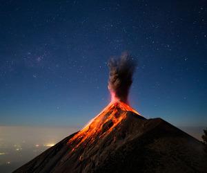 nature, volcano, and stars image