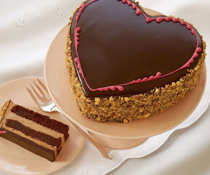 cake, heart, and chocolate image