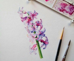 art, watercolor, and flowers image