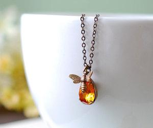 etsy, november birthstone, and honey bee necklace image
