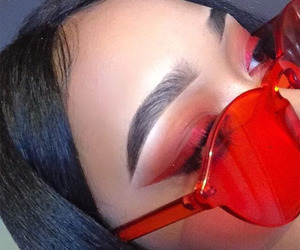 red, makeup, and eyebrows image