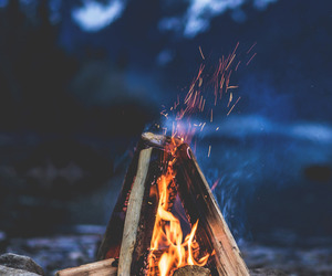 campfire, fire, and landscape image