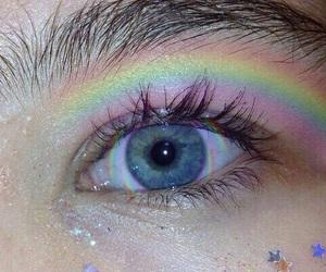 rainbow, blue, and eye image