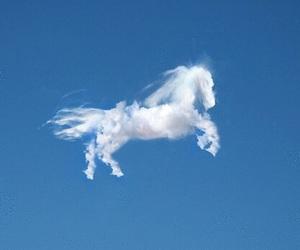 clouds, sky, and unicorn image