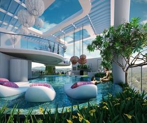 luxury, pool, and flowers image