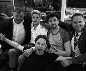 niall horan, black and white, and party image