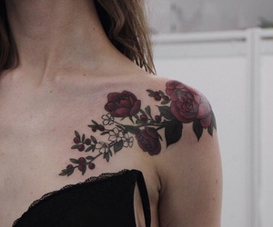 art, tattoo, and roses image