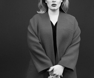 Adele, black and white, and hello image
