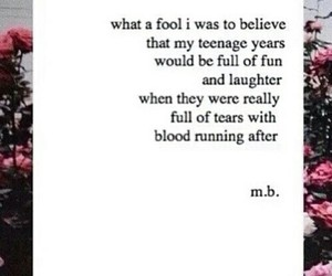 sad, quote, and blood image