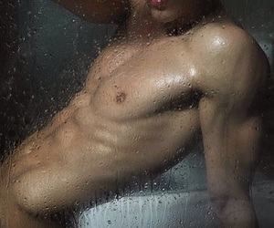 body, guy, and shower image