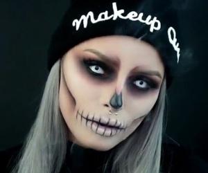 Halloween, girl, and skull image
