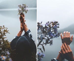 Collage, flowers, and girl image