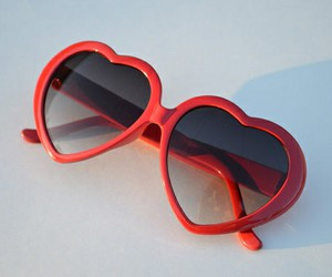 sunglasses, red, and vintage image