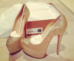 christian louboutin, strass, and gold image