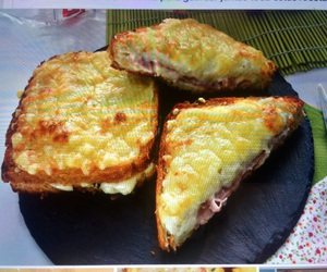 food, ham and cheese, and breaded cheese image