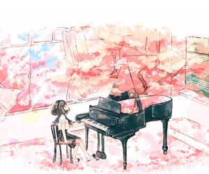 piano, anime, and art image