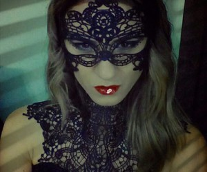 black lace, Halloween, and halloween costume image