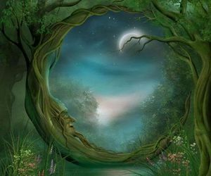 art, fantasy, and moon image