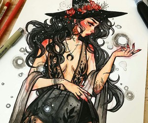 witch, art, and drawing image