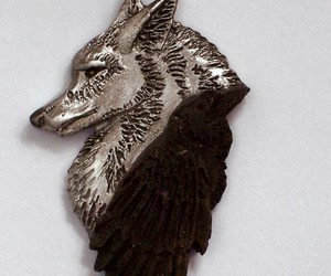 necklace, raven, and wolf image