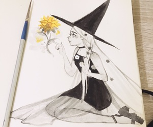 drawing, fanart, and witch image