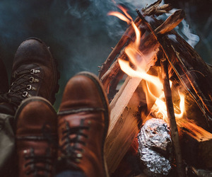 fire, boots, and camping image