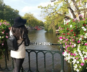 amsterdam, flowers, and girl image
