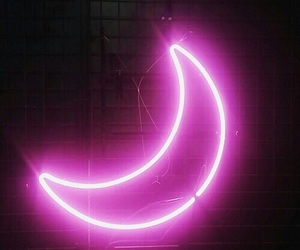 moon, pink, and light image