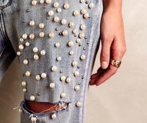 jeans, fashion, and pearls image