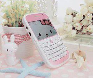 hello kitty, pink, and phone image