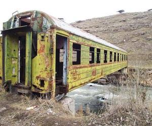 bridge, train, and abandoned image