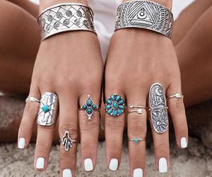 boho, rings, and white image