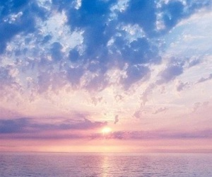 sunset, clouds, and ocean image