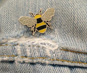 bee, pins, and jeans image