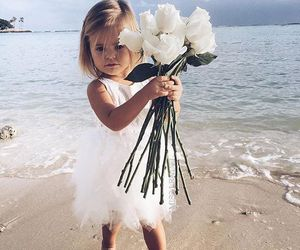 baby, girl, and flowers image