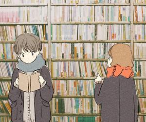 anime, cute, and books image