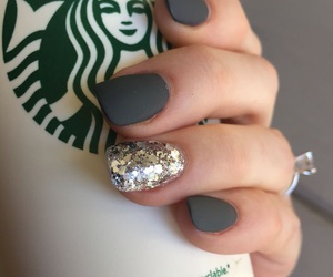 nails, starbucks, and glitter image