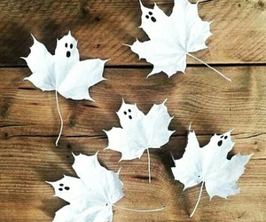 ghost, Halloween, and leaves image